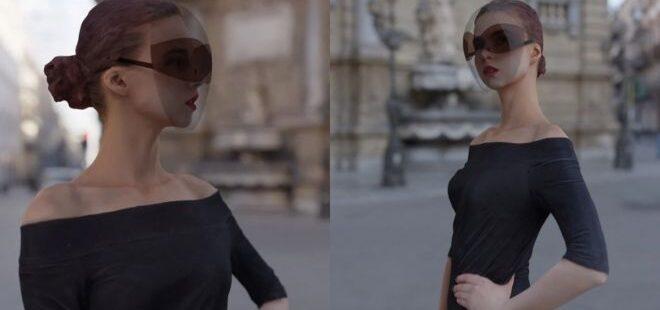 güneş gözlüğü görünümünde yüz siperliği