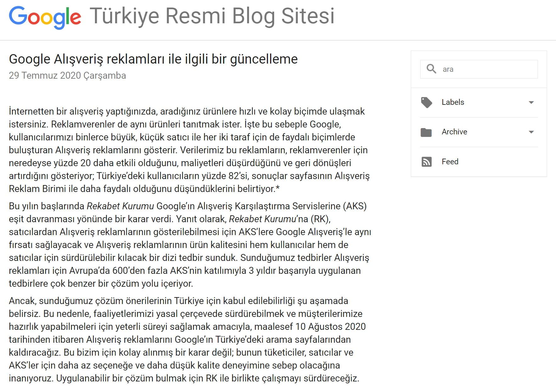 Google-ın Turkiye kararı