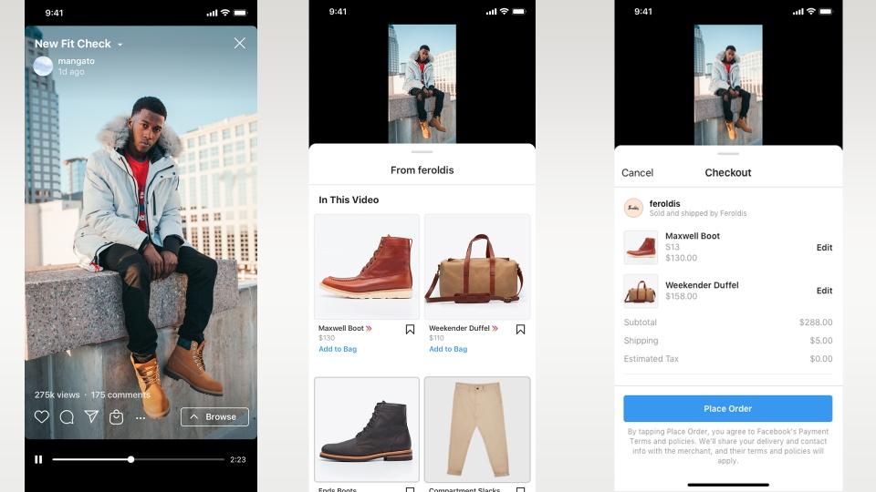 instagram'da alışveriş, IGTV ve Reels