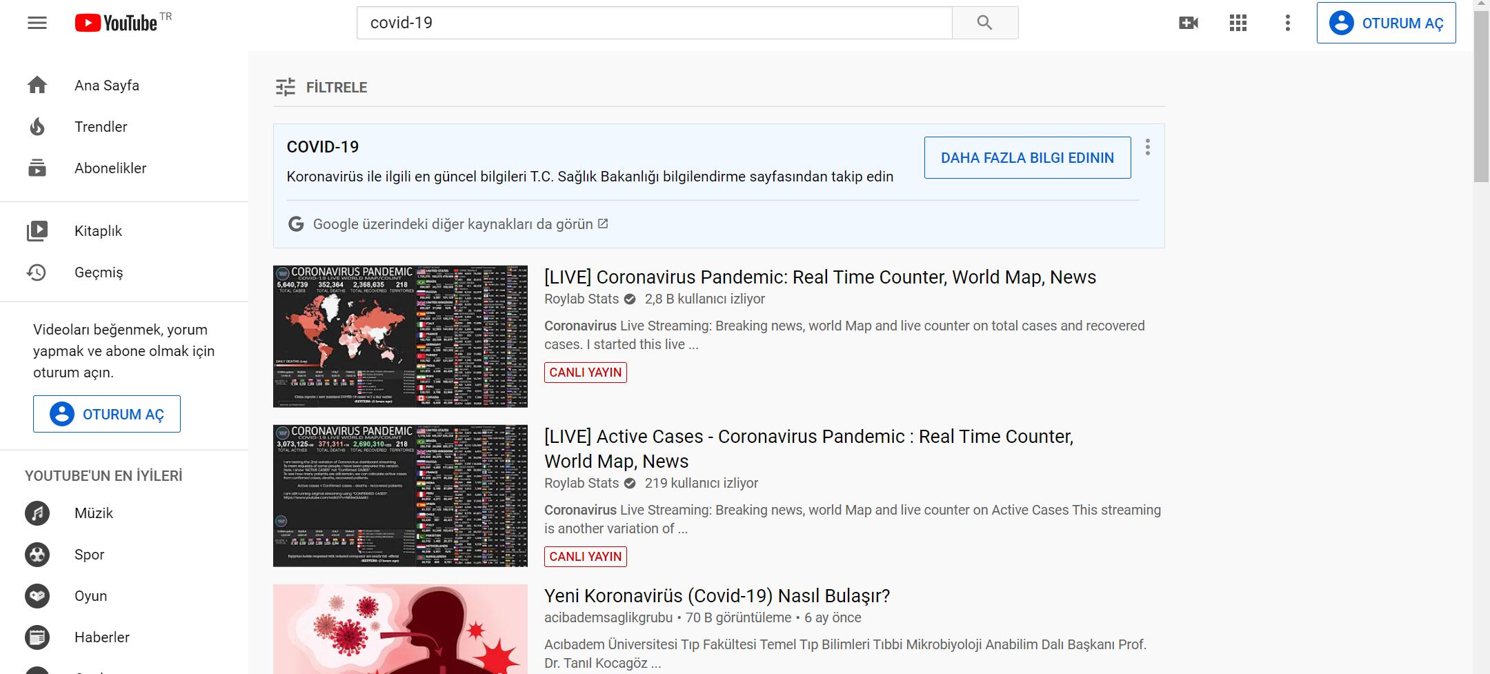 youtube koronavirüs, youtube